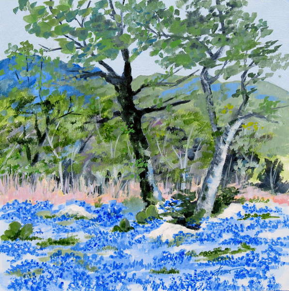 Painting - In April-texas Bluebonnets by Adele Bower