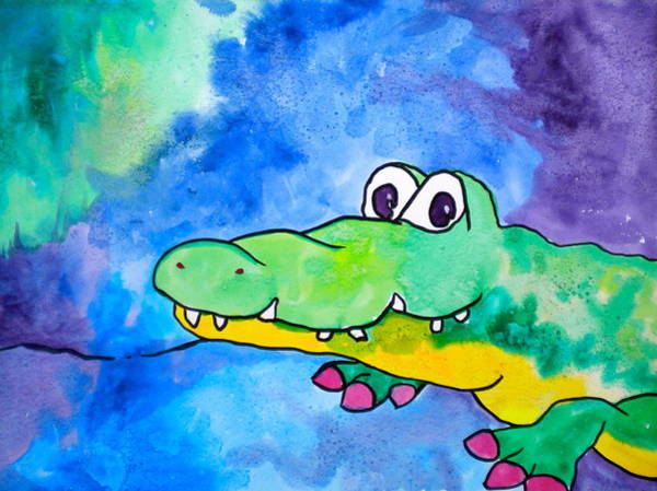 Wall Art - Painting - In Awhile Crocodile by Debi Starr