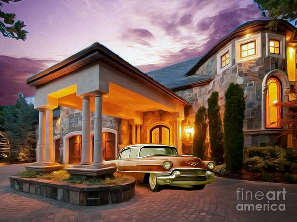 Mansion Mixed Media - In For The Evening by Jon Neidert