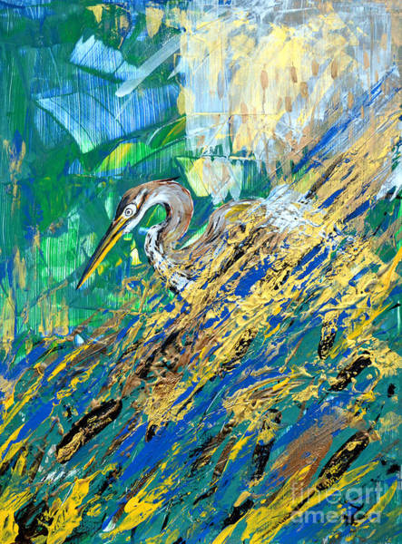 Russian Impressionism Wall Art - Painting - In Golden Reeds by Zaira Dzhaubaeva