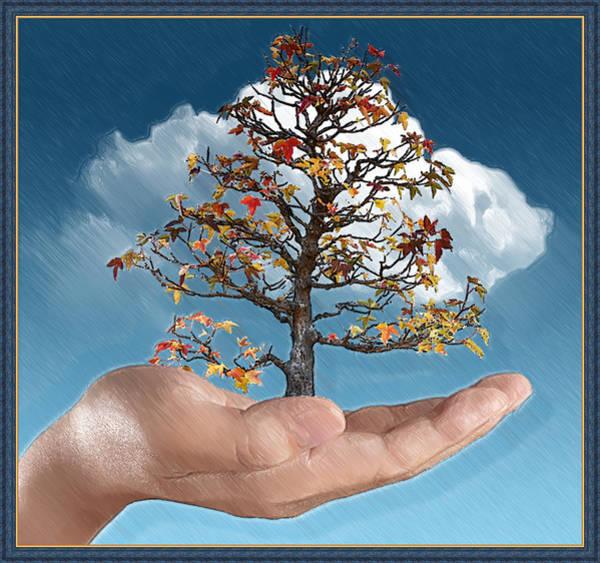 Bonsai Tree Digital Art - In His Hands by John Haldane