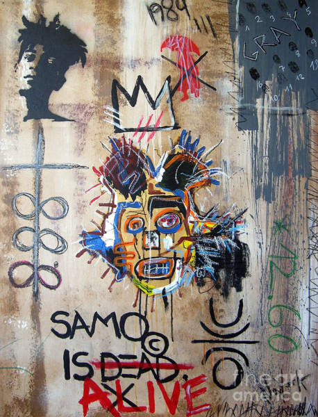 Spray Paint Painting - In Memory Basquiat by Bela Manson
