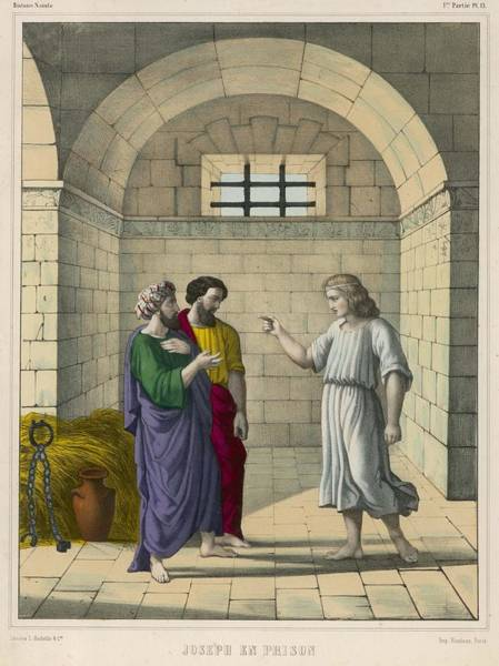 Interpret Drawing - In Prison Due To Potiphar's  Wife's by Mary Evans Picture Library