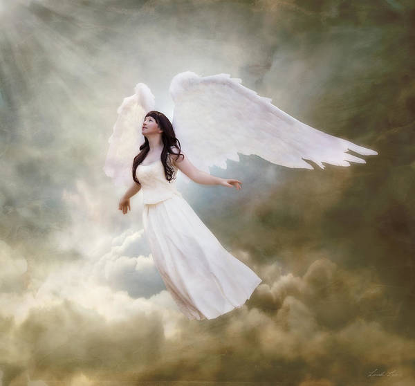 Angelic Digital Art - In The Arms Of The Angels by Linda Lees