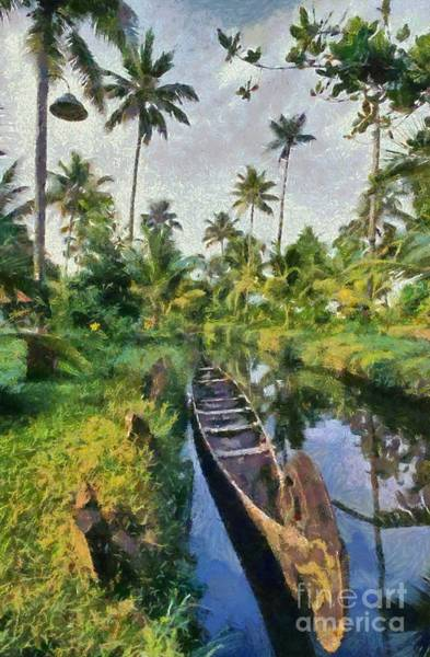 Kerala Wall Art - Painting - In The Backwaters Of Kerala by George Atsametakis