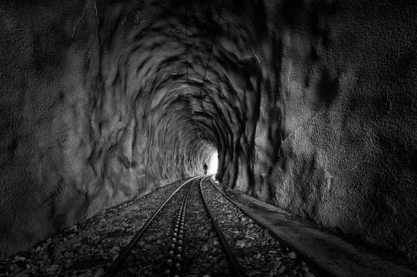 Railroads Photograph - In The Bowels Of The Mountain-bw by Vito Guarino