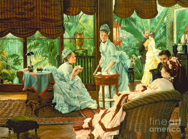 Courtship Wall Art - Painting - In The Conservatory  by James Jacques Tissot