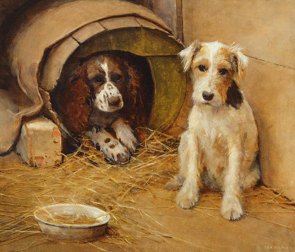 Doggy Wall Art - Painting - In The Dog House by Samuel Fulton