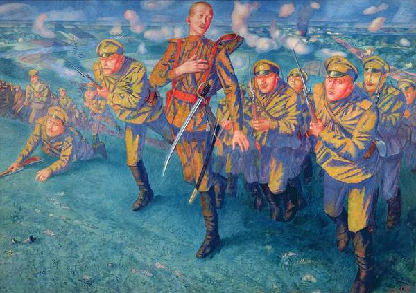 Wounded Soldier Painting - In The Firing Line by Kuzma Sergeevich Petrov-Vodkin