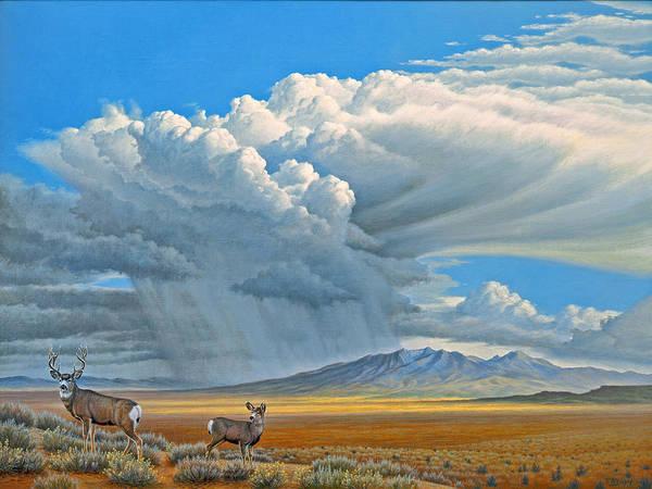 Cloudscape Wall Art - Painting - In The Foothills-mule Deer by Paul Krapf
