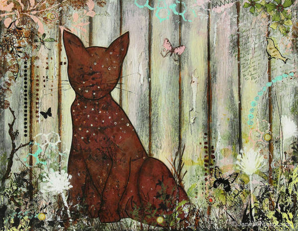 Fence Mixed Media - In The Garden Abstract Folk Art Painting Of A Cat by Janelle Nichol