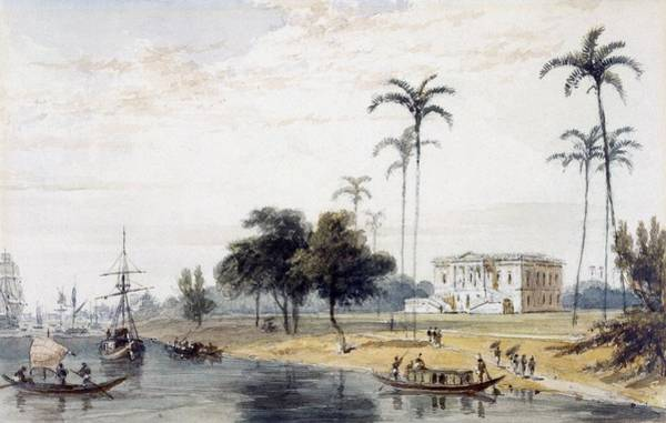 Riverbank Drawing - In The Garden House Reach, Calcutta by English School