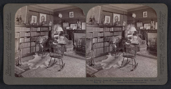 Sagamore Wall Art - Drawing - In The Library, Home Of President Roosevelt by Litz Collection