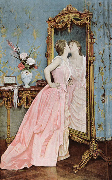 Stylish Drawing - In The Mirror by Auguste Toulmouche