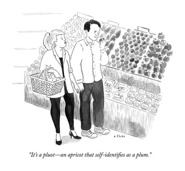 Gender Wall Art - Drawing - In The Produce Section Of A Grocery Store by Emily Flake