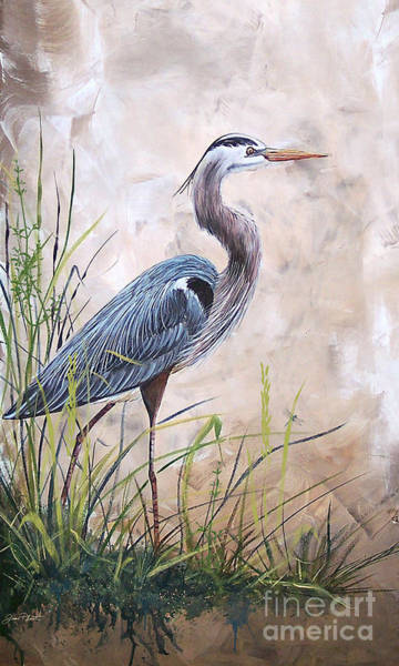 Marsh Grass Wall Art - Painting - In The Reeds-blue Heron-a by Jean Plout