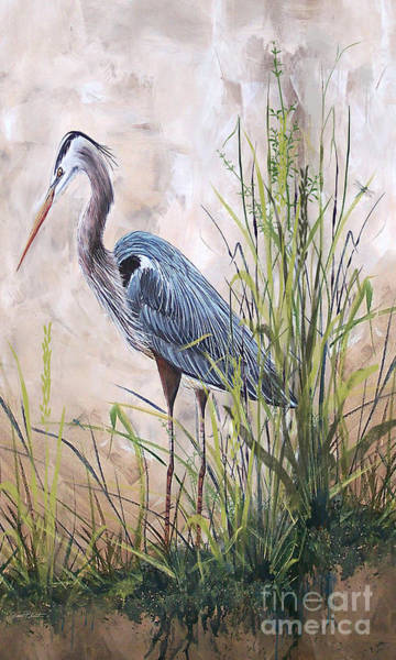 Marsh Grass Wall Art - Painting - In The Reeds-blue Heron-b by Jean Plout