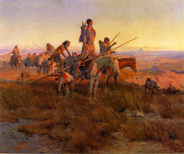 Wake Digital Art - In The Wake Of The Buffalo Hunters by Charles Russell