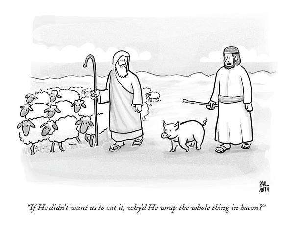 Pig Drawing - In What Appears To Be Biblical Times by Paul Noth