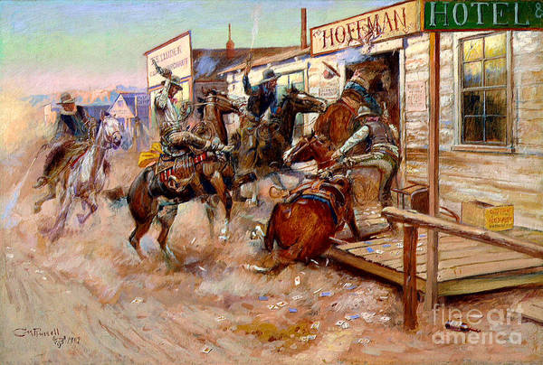 Wall Art - Painting - In Without Knocking By Charles M. Russell by Pg Reproductions