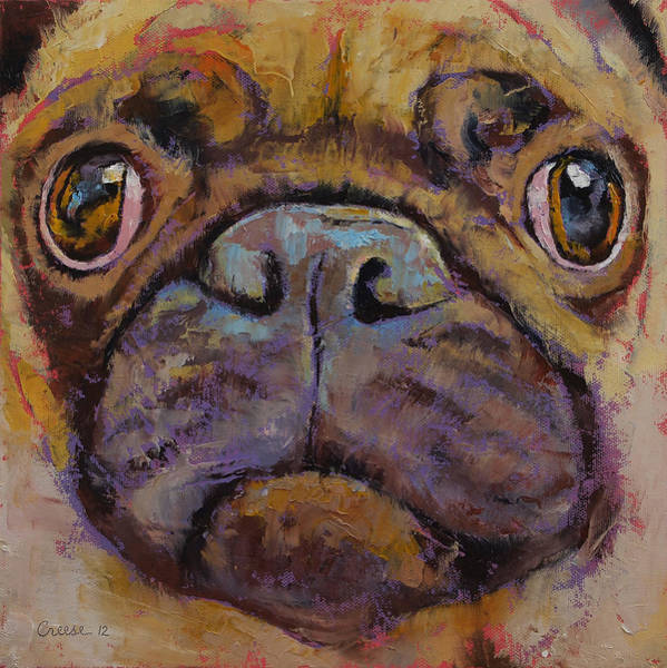 Hund Wall Art - Painting - Pug by Michael Creese