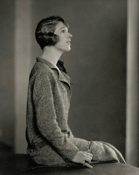 Photograph - Ina Claire Wearing A Tweed Dress by Edward Steichen