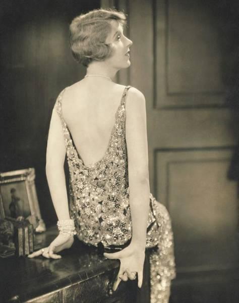 Desk Photograph - Ina Clare Wearing A Chanel Dress by Edward Steichen