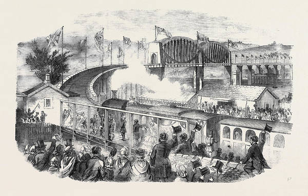 Wall Art - Drawing - Inauguration Of The Albert Viaduct At Saltash By The Prince by English School