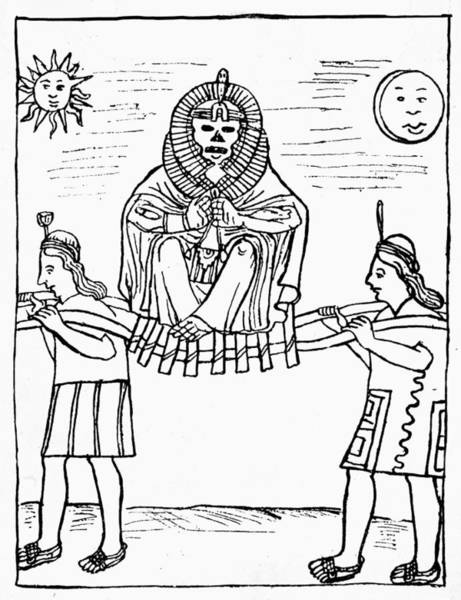 Litter Drawing - Inca Mummified Ruler by Granger