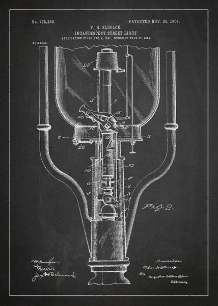 Wall Art - Digital Art - Incandescent Street Light Patent Drawing From 1904 by Aged Pixel