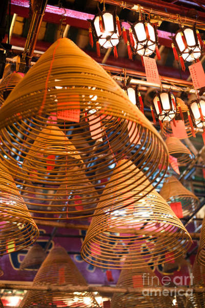Wall Art - Photograph - Incense Coils Hanging Inside Man Mo Temple Hong Kong by Matteo Colombo