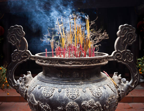 Incense Sticks Burn In Large Ceremonial Temple Urn Art Print