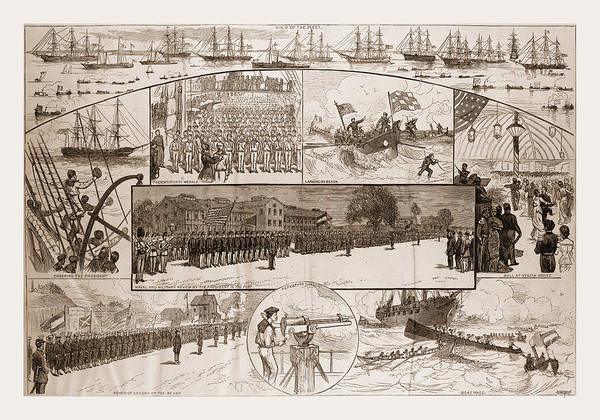 Wall Art - Drawing - Incidents Of The Naval Review At Fortress Monroe by Litz Collection