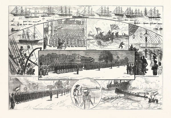 Wall Art - Drawing - Incidents The Naval Review Fortress Monroe by American School