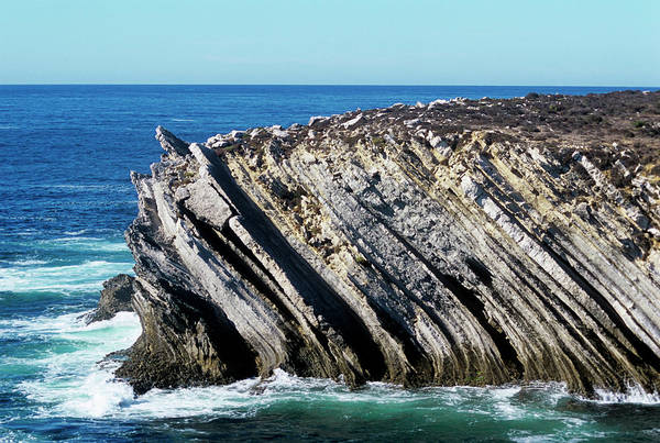 Sea Plane Photograph - Inclined Rock Strata At The Coast by Sinclair Stammers/science Photo Library