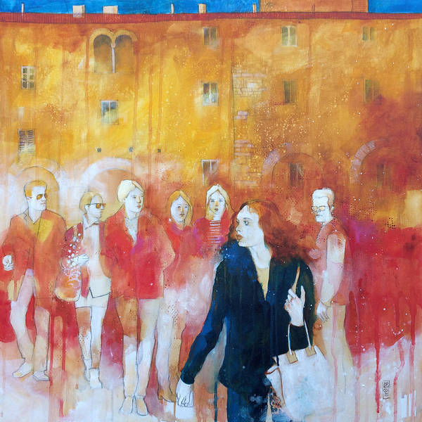 Florence Wall Art - Painting - Incontri Casuali Nella Piazza by Alessandro Andreuccetti