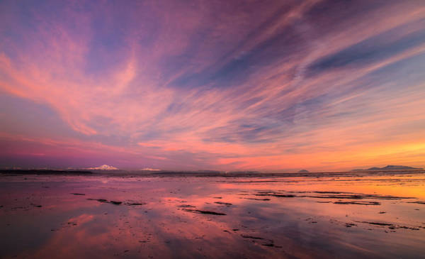Photograph - Incredible Sky And Reflection Over Mount Baker At Sunset by Pierre Leclerc Photography