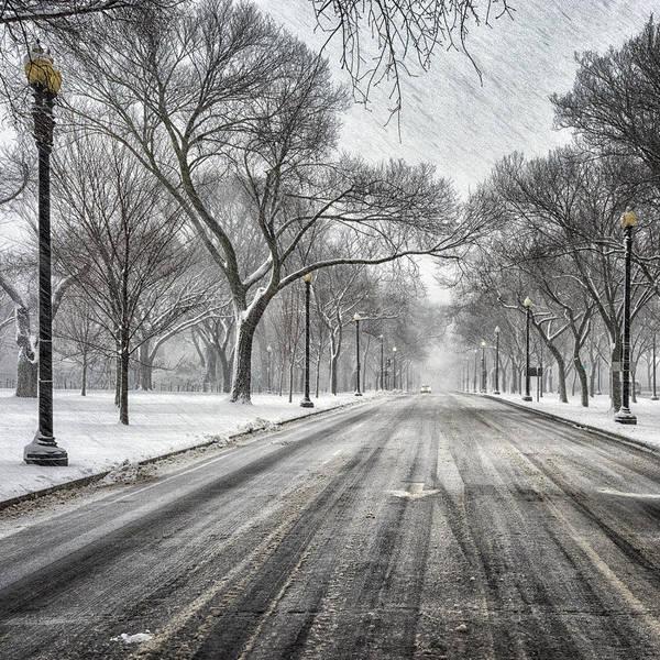 Snowstorm Wall Art - Photograph - Independence Avenue by Robert Fawcett