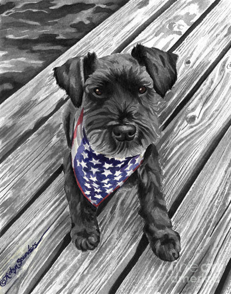 Watercolor Schnauzer Black Dog Art Print