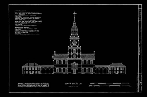 Philly Digital Art - Independence Hall - South Elevation by Daniel Hagerman