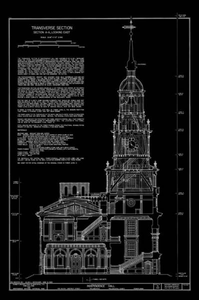 Drafting Photograph - Independence Hall Transverse Section - Philadelphia by Daniel Hagerman