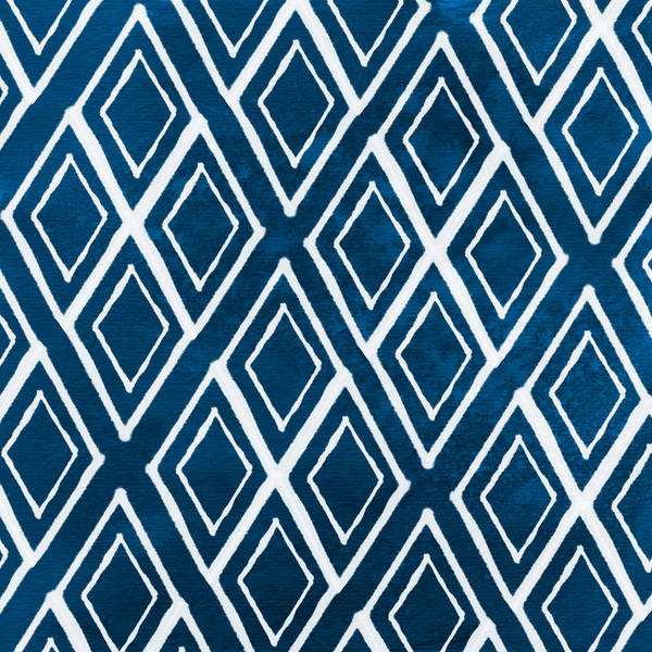 Blue And White Wall Art - Painting - Indgo And White Diamonds Large by Linda Woods