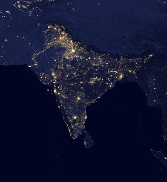 Suomi Photograph - India At Night, Satellite Image by Science Photo Library