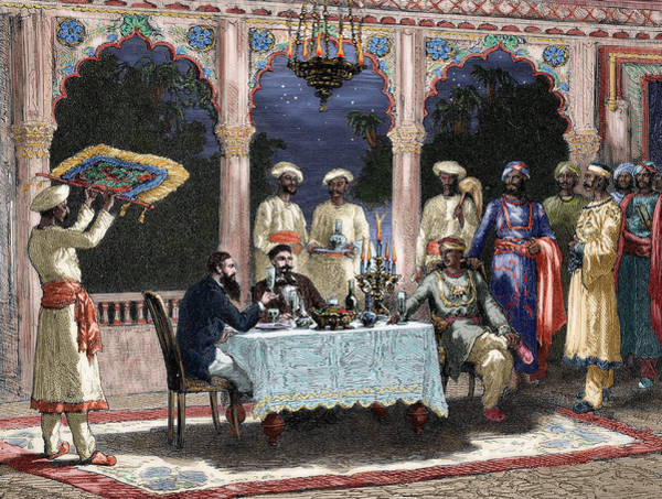 Hindu Drawing - India  British Colonial Era  Banquet At The Palace Of Rais In Mynere by Hildibrand