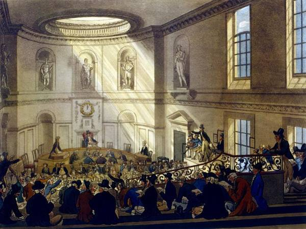 Georgian Drawing - India House, The Sale Room by T. & Pugin, A.C. Rowlandson
