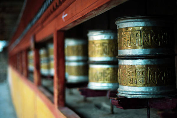 Hemi Photograph - India, Ladakh, Hemis, Prayer Wheels by Anthony Asael