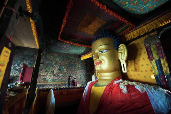 Giant Buddha Photograph - India, Ladakh, Shey, Large Golden by Anthony Asael