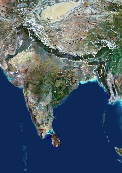 Landsat 7 Wall Art - Photograph - India by Planetobserver/science Photo Library