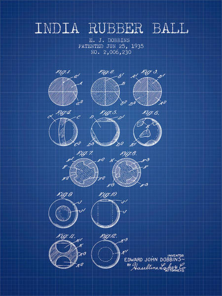 Wall Art - Digital Art - India Rubber Ball Patent From 1935 -  Blueprint by Aged Pixel