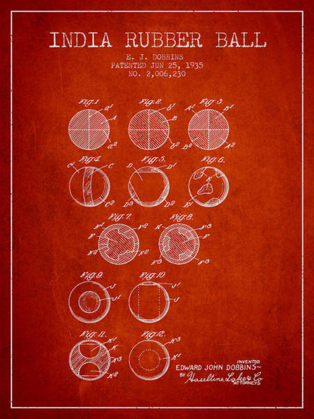 Wall Art - Digital Art - India Rubber Ball Patent From 1935 -  Red by Aged Pixel